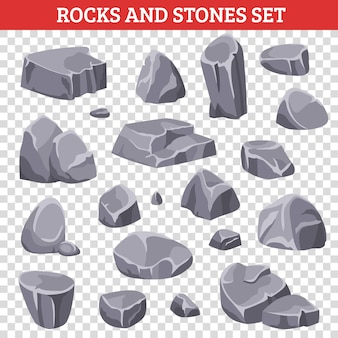 Grandi e piccole rocce e pietre grige