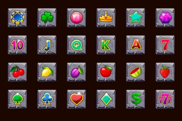 Grandi icone di gioco per slot machine o casinò sul quadrato di pietra. casinò di gioco, slot, interfaccia utente.