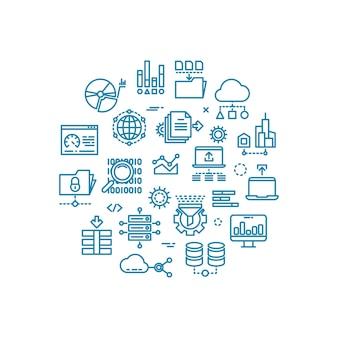 Grandi icone di vettore del profilo di dati del computer nella progettazione del cerchio
