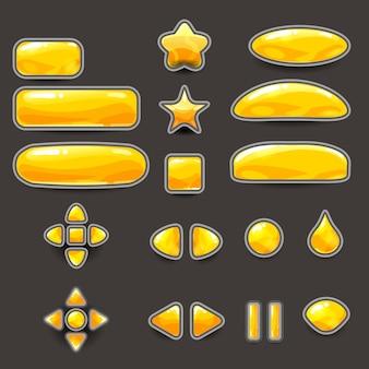 Grandi pulsanti color oro giallo per giochi e app di forme diverse. kit interfaccia utente casual. icona del gioco 2d