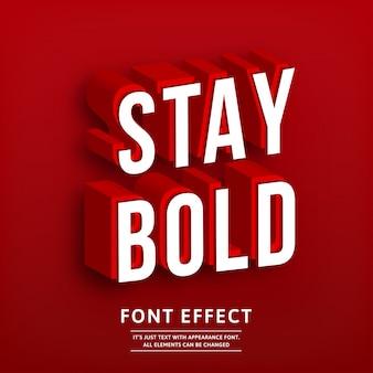 Grassetto forte effetto di testo isometrico rosso 3d