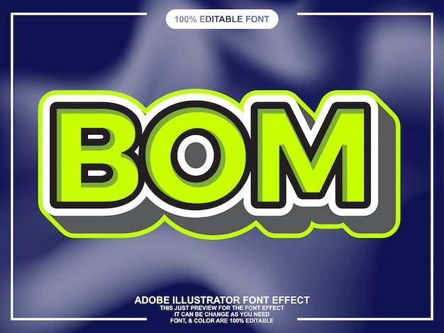 Grassetto moderno effetto carattere stile testo con contorno verde chiaro