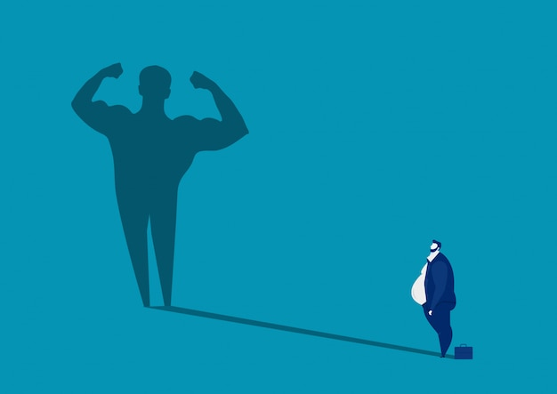 Grasso dell'uomo d'affari che sembra forte, illustrazione sana di concetto del grande corpo dell'uomo dell'ombra