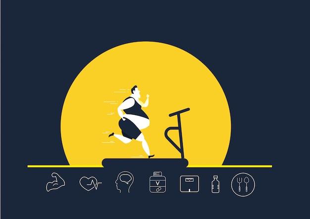 Grasso obeso uomo che corre sul tapis roulant oversize grasso perdita di peso con l'icona di brughiera