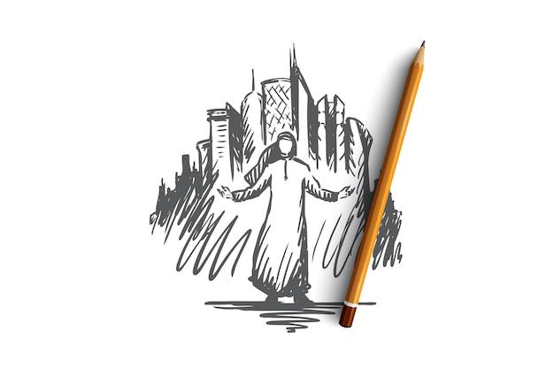 Grattacieli dell'uomo musulmano disegnato a mano di megapolis sullo schizzo di concetto del fondo
