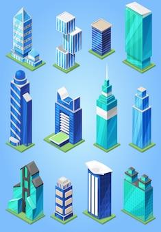 Grattacielo della costruzione nell'orizzonte della città di paesaggio urbano e nell'edificio per uffici di affari della società commerciale e costruisca l'architettura all'illustrazione stabilita del cielo alto isolata su fondo