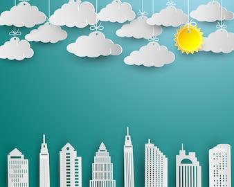 Grattacielo e nuvola nel disegno di arte del Libro Bianco