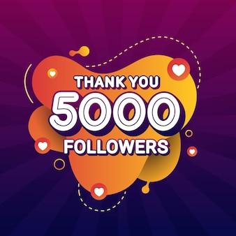 Grazie 5000 banner di congratulazioni seguaci