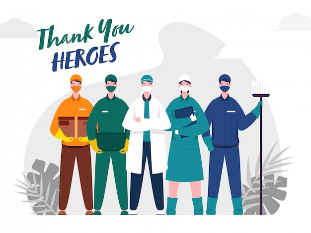 Grazie a doctor heroes, nurse, sweeper, delivery & courier men heroes durante l'epidemia di coronavirus ().