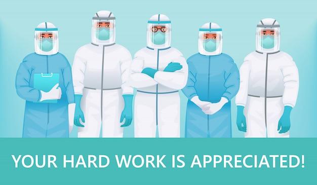 Grazie a medici e infermieri. il tuo duro lavoro è apprezzato. personale medico in tute protettive, occhiali e maschere mediche