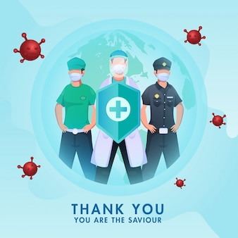 Grazie a tutti salvatore, polizia dei cartoni animati con lavoratore essenziale e medico in possesso di scudo di sicurezza medica per combattere dal coronavirus su sfondo blu in tutto il mondo.
