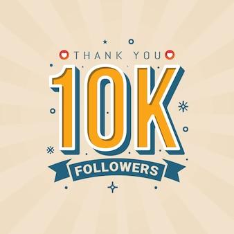 Grazie banner di congratulazioni di 10k seguaci