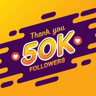 Grazie banner di congratulazioni seguaci 50k
