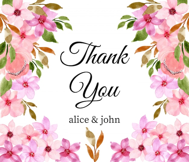 Grazie carta con acquerello floreale