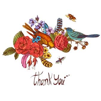 Grazie cartolina d'auguri di vettore disegnato a mano
