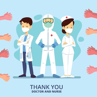 Grazie concetto dell'illustrazione di medici e degli infermieri