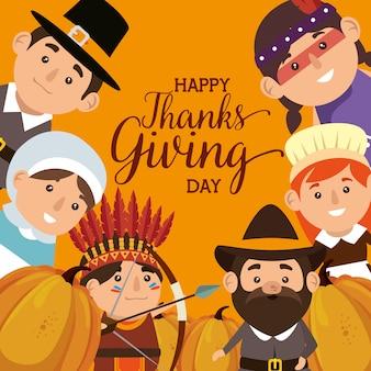 Grazie dando carta con pellegrini e nativi
