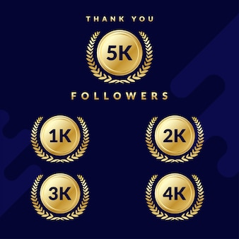 Grazie follower 5k. set di badge per follower 1k, 2k, 3k o 4k. design elegante