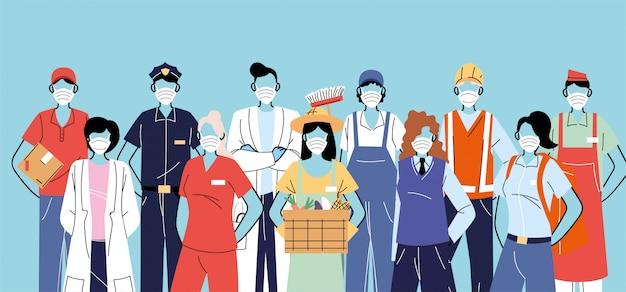Grazie lavoratori essenziali, varie occupazioni persone che indossano maschere per il viso