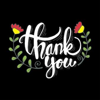 Grazie lettering sfondo con fiori