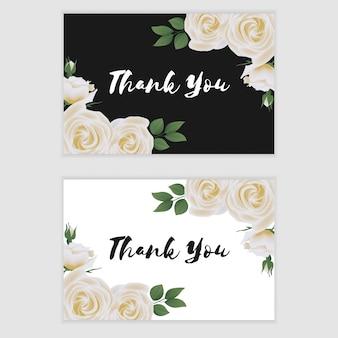 Grazie modello di carta con ornamento fiore rosa bianco