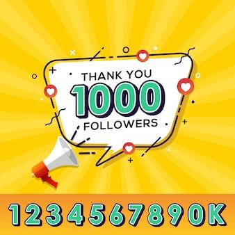 Grazie seguaci banner di congratulazioni