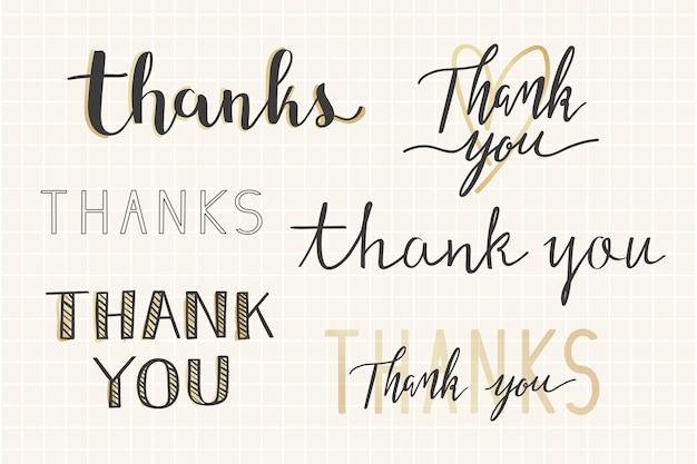 Grazie set tipografia manoscritta
