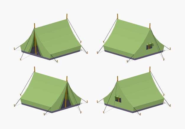 Green camping 3d tende isometriche lowpoly