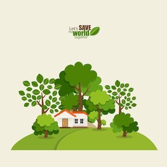 Green eco city living concept