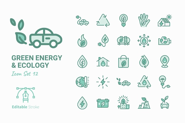 Green energy & ecology vector icon collection vol. 12