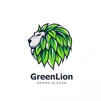 Green lion logo design