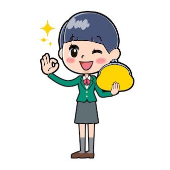 Green_wallet, ragazza scolastica fuori linea