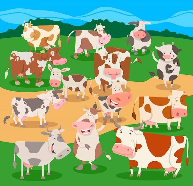 Gregge di mucche fattoria animali gruppo di caratteri