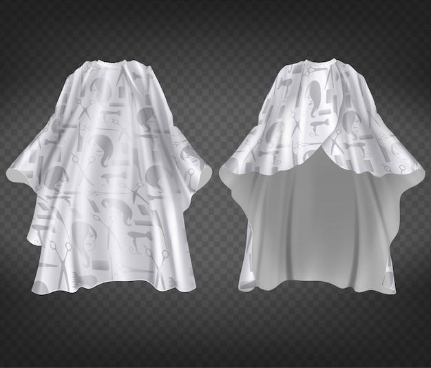 Grembiule bianco realistico del parrucchiere 3d con stampa, modello isolato su sfondo trasparente.