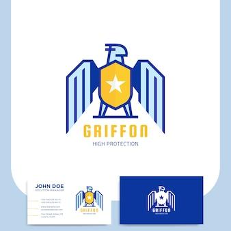 Griffon shield logo design per azienda di sicurezza con biglietto da visita