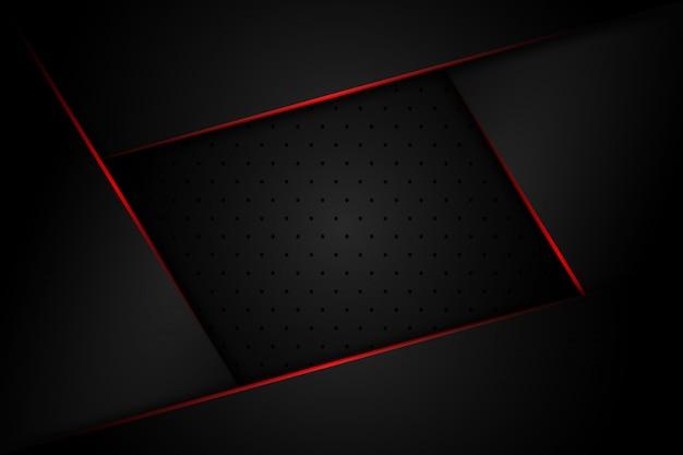 Grigio scuro astratto con la linea di luce rossa sul fondo futuristico di lusso moderno di progettazione dello spazio