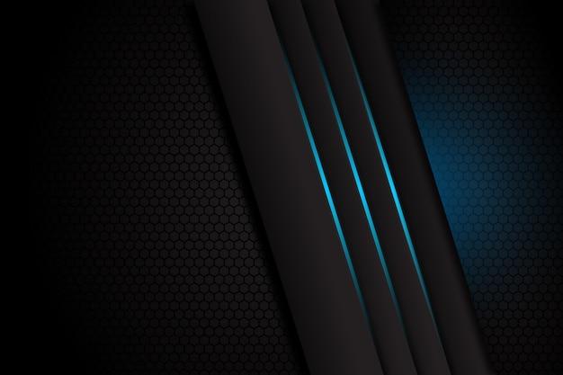 Grigio scuro astratto con la linea leggera blu su fondo futuristico di lusso moderno di progettazione dello spazio