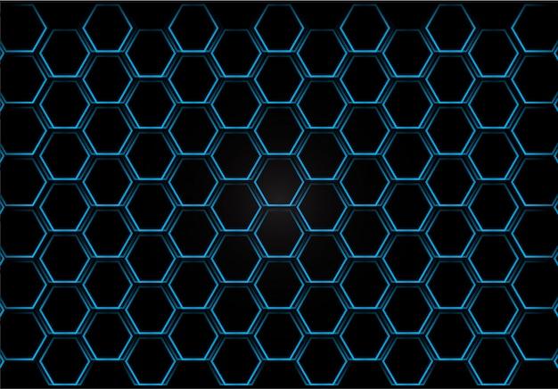 Griglia di esagono di metallo lustro su sfondo blu. vettore