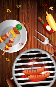 Griglia il menu con il forno e le icone in tavola di legno