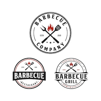 Griglia per barbecue, steak house design vintage logo