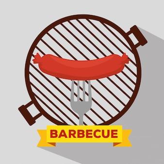 Griglia per salsicce con barbecue e forchetta