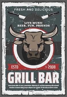 Grill bar poster retrò. testa di toro e manzo