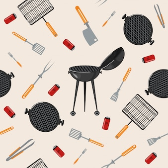 Grill barbecue seamless pattern con utensili da cucina