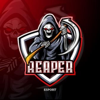 Grim mietitori mascotte esport logo design.