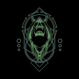 Grim reaper illustrazione con geometria sacra