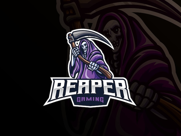 Grim reaper mascot sport logo design