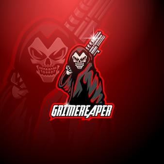 Grim reaper mascotte con logo che tiene la pistola