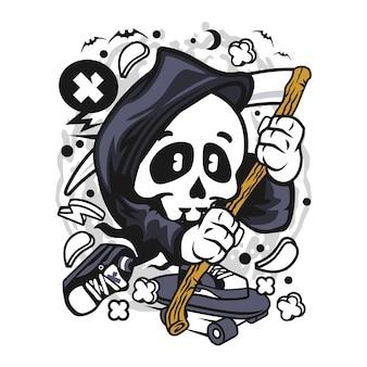 Grim reaper skater cartoon character