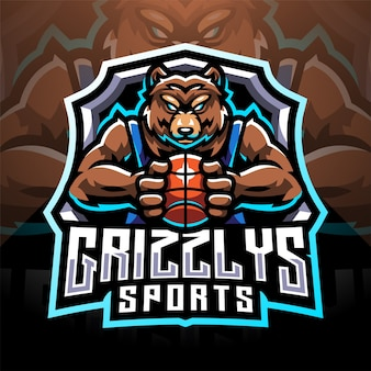 Grizzlys esport mascotte logo design