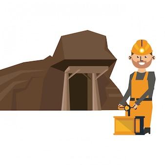 Grotta mineraria e lavoratore con detonatore